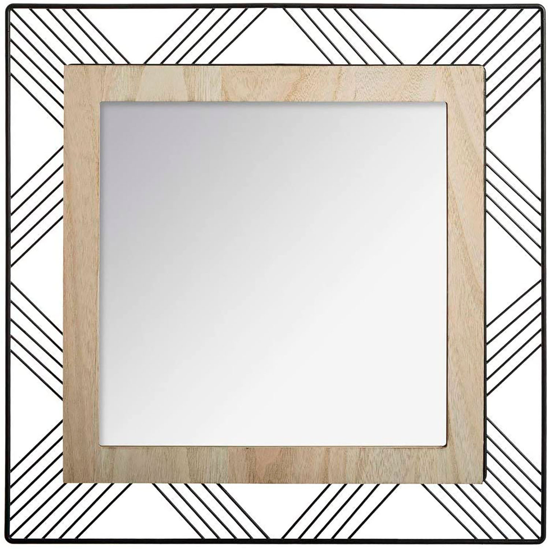 Espejo Pared Cuadrado de Metal y MDF, Espejos Originales y Modernos Decorativos. Decoración Dormitorio/Salón 45x45x1,5cm