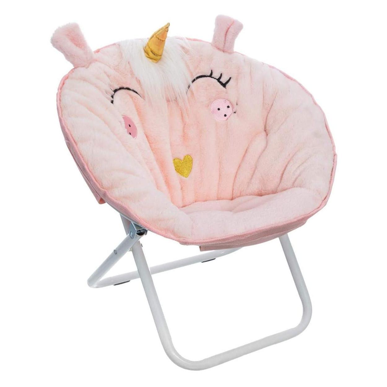 Folding chair Children's Pink Unicorn, Metal Bracket. Children's furniture Kids Decorative 40x50 cm
