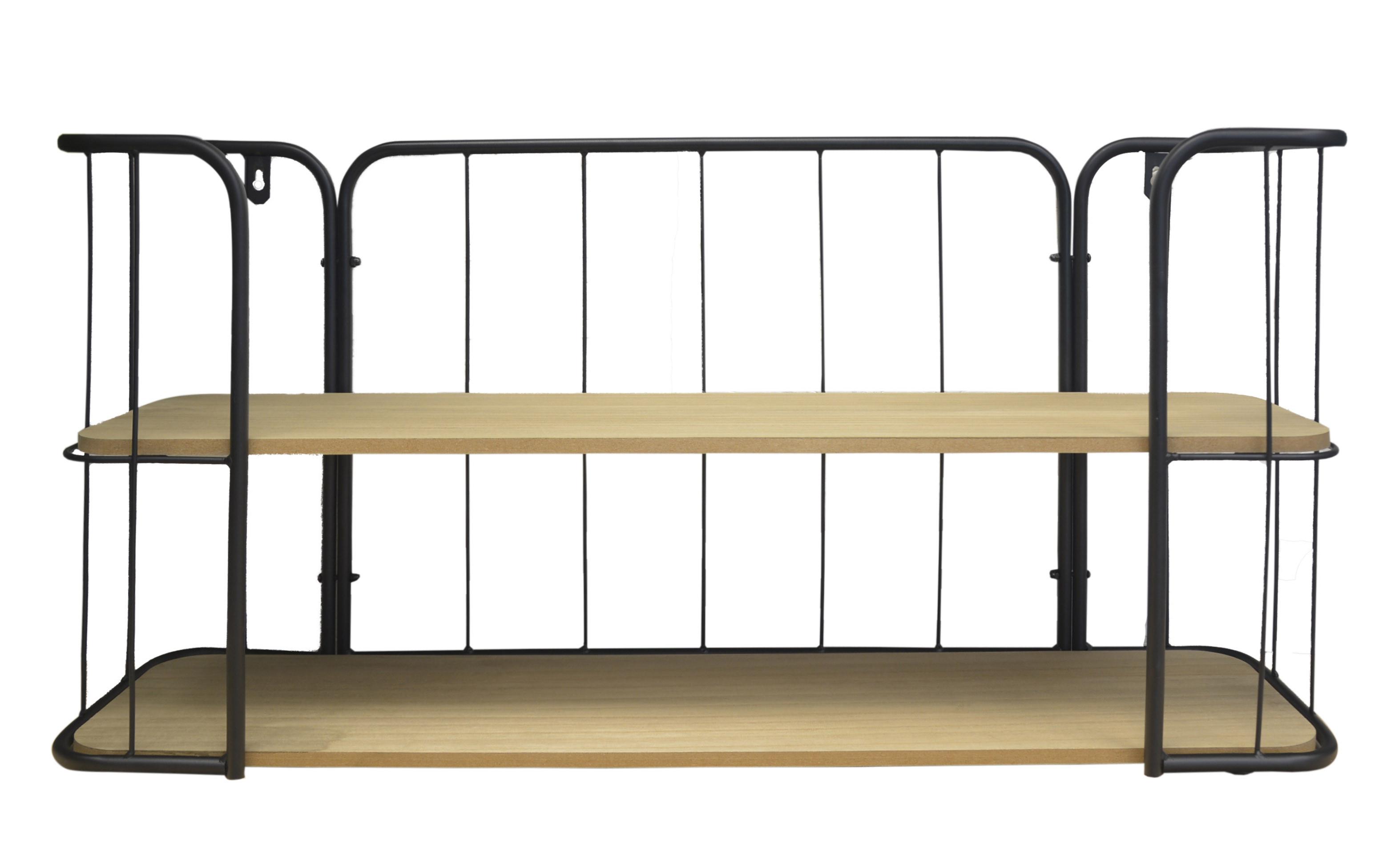 Shelf Wall Wood and Metal 2 Shelves, Floating Shelves Modern Bedroom/living Room 75x36x20 cm
