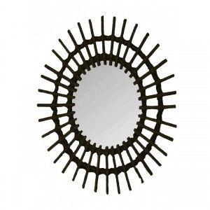 Espejo Pared Circular Negro de Ratán Natural, Espejos Decorativos Originales. Decoración Dormitorio/Salón 57x43cm