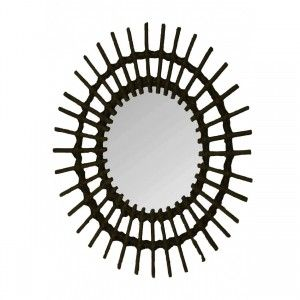 Mirror Wall Circular Black Natural Rattan, Decorative Mirrors Original. Decoration Bedroom/living Room 57x43cm
