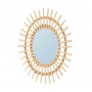 Mirror Circular Wall of Natural Rattan, Decorative Mirrors Original. Decoration Bedroom/living Room 57x43cm
