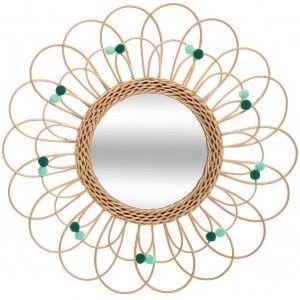Espejo Pared Circular de Ratán Natural, Espejos Decorativos Originales. Decoración Dormitorio/Baño ø56 cm