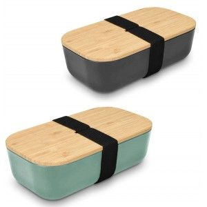 Tupper Bamboo 700 ml lunch box Bamboo Grey and Green. Food bowl 20x6,5x11 cm