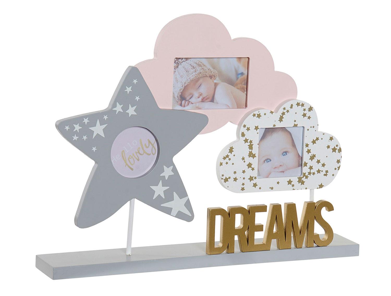 Marco Multifotos con Diseño Infantil de Nuves y Estrella, de Madera MDF 32x5x24 cm