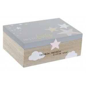 Caja Infantil con Frase y Diseño de Estrellas, de madera MDF 22x15x8,5 cm