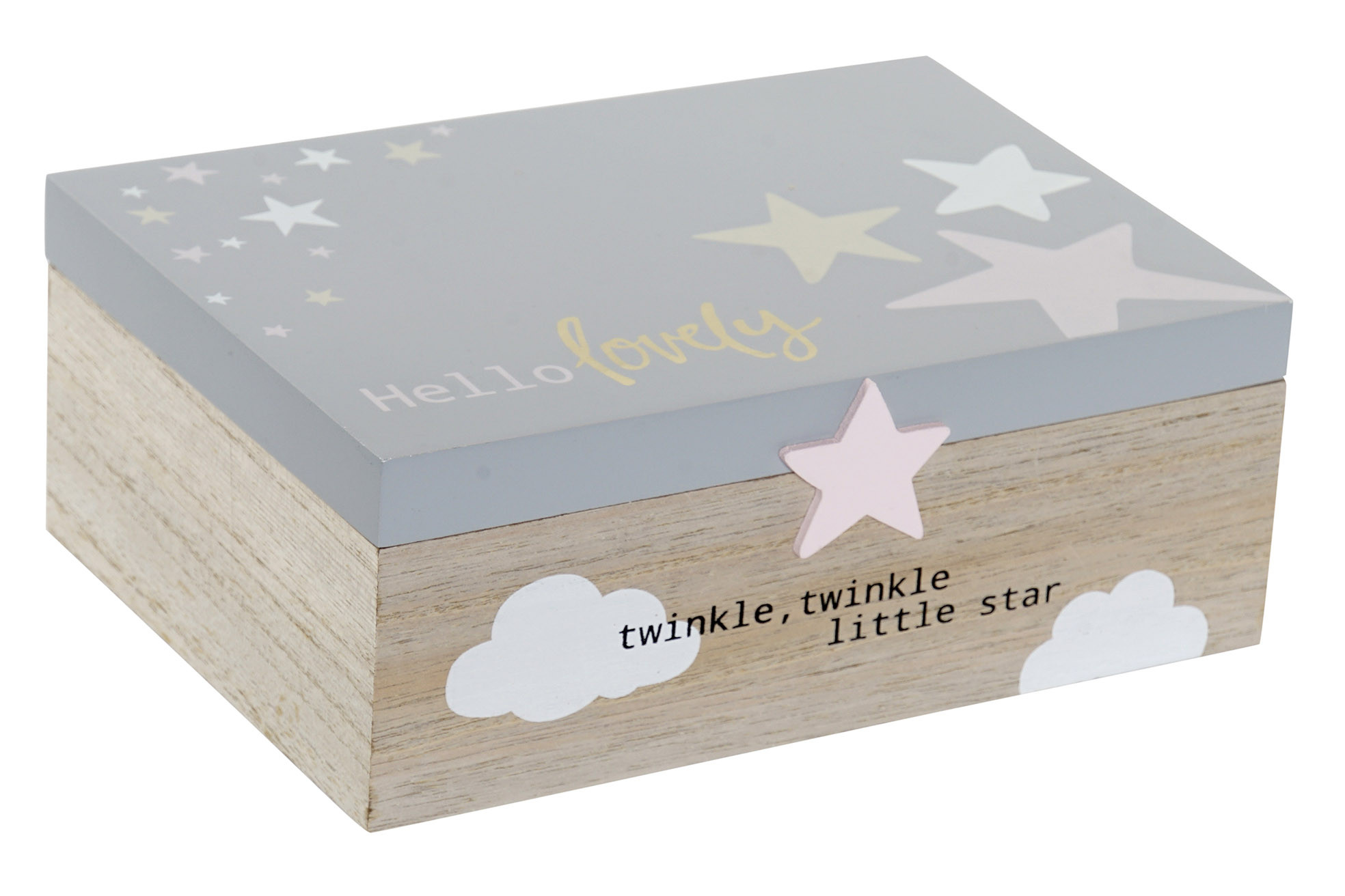 Box Child with Phrase and Stars Design, made of wood MDF 22x15x8,5 cm