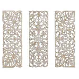 Altarpiece a Decorative Wall Wood Carved, MDF and Iron, Set of 3 Pieces Indian Style White Antique 120X2X120 cm