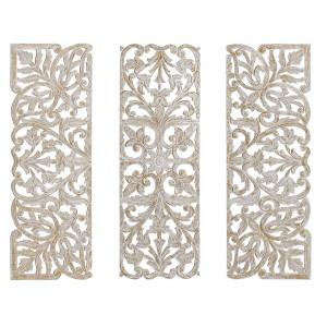 Retablo Decorativo de Pared en Madera Tallada MDF y Hierro, Set de 3 Piezas Estilo Indio Color Blanco Envejecido 120X2X120 cm