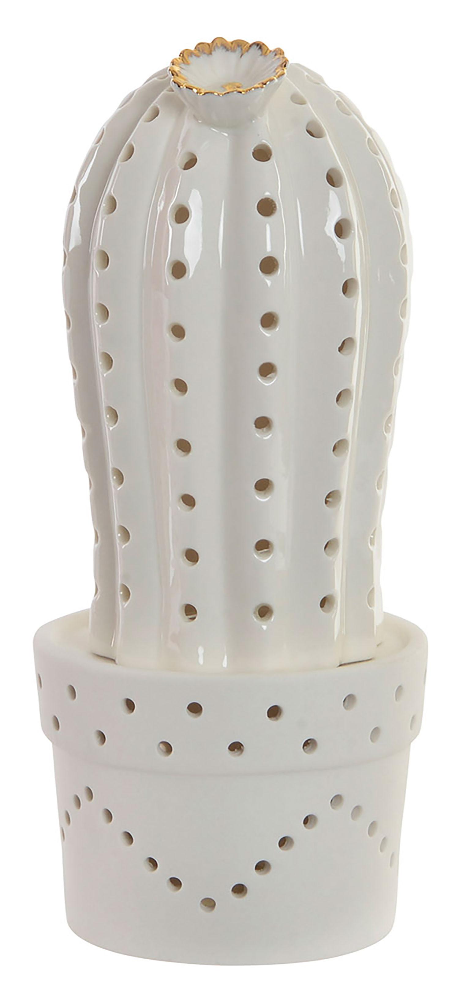Led lamp, Figure of decorating Gress, design of Cactus in White color 11X11X26 cm