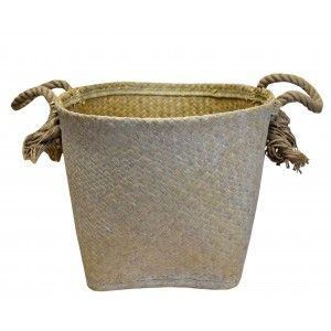 Wicker baskets Decorative Baskets Storage with Handles and Decapé White. Decor Wicker, Ethnic Style 39x28,5 cm