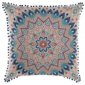 Cushion Cotton Blue with Design of a Mandala, Indian Style 60X60 cm
