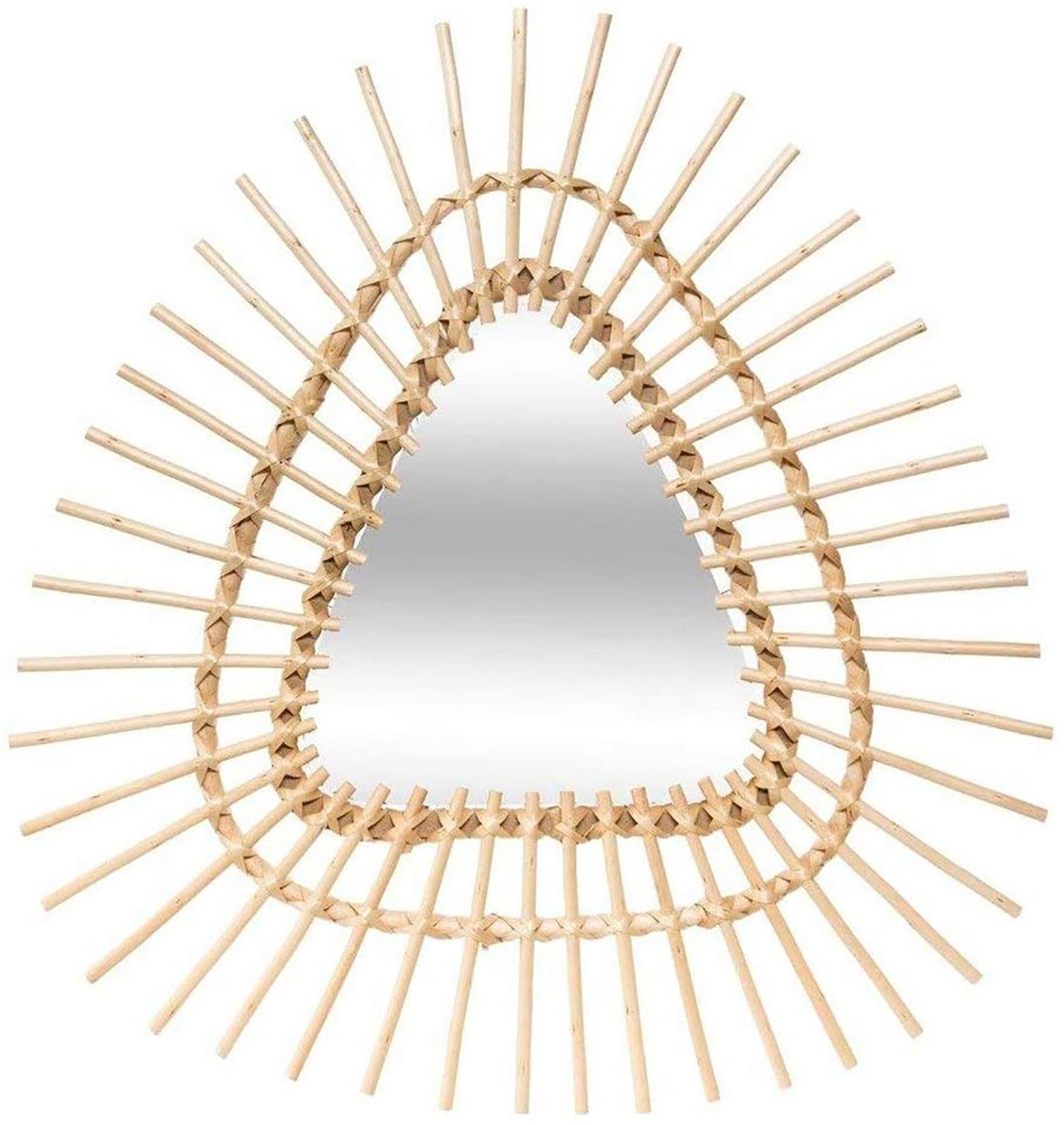 Espejos Triangulares Decorativos Geométricos, Espejo Pared de Ratán, . Decoración Pared Original y Moderno 54x57cm