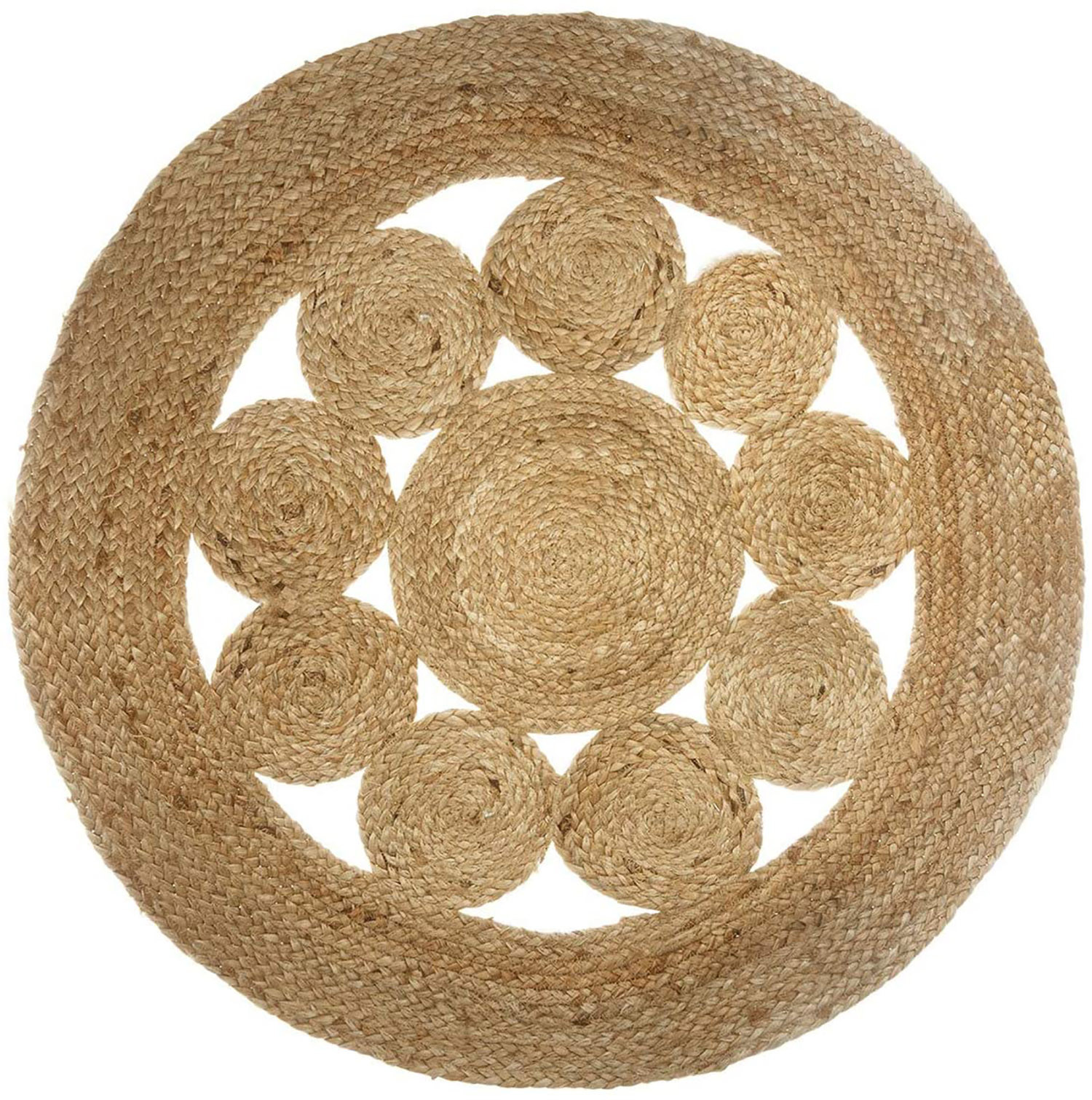 Carpet Jute for living Room or Bedroom, Carpet 100% Natural Round. Decor Tapestry ethnic 80 cm