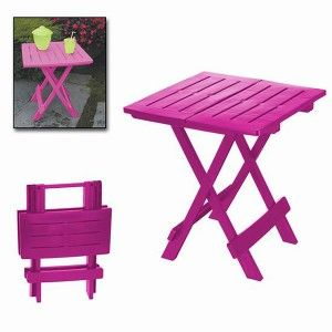 "Folding table ""ADIGE"" Fuchsia, side Table Folding. Table for Garden or Camping, 44x44x50cm - Home and More"