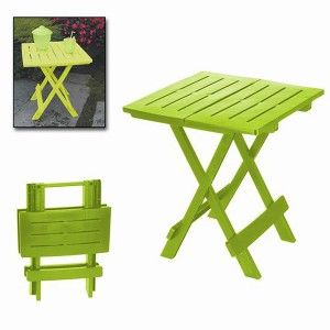 "Folding table ""ADIGE"" Lime Green, side Table Folding. Table for Garden or Camping, 43x45x50cm - Home and More"