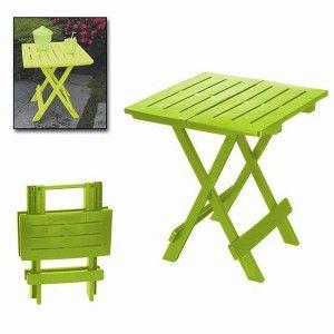 """Mesa plegable """"ADIGE"""" Verde Lima, Mesa Auxiliar Plegable. Mesa para Jardín o de Camping,  43x45x50cm - Hogar y Más"""