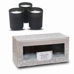 Scented candle Black Cherry Pack Of 3, Decorative Candles and Aromatic + Glass Black Glass 12 Hours 6x4 cm