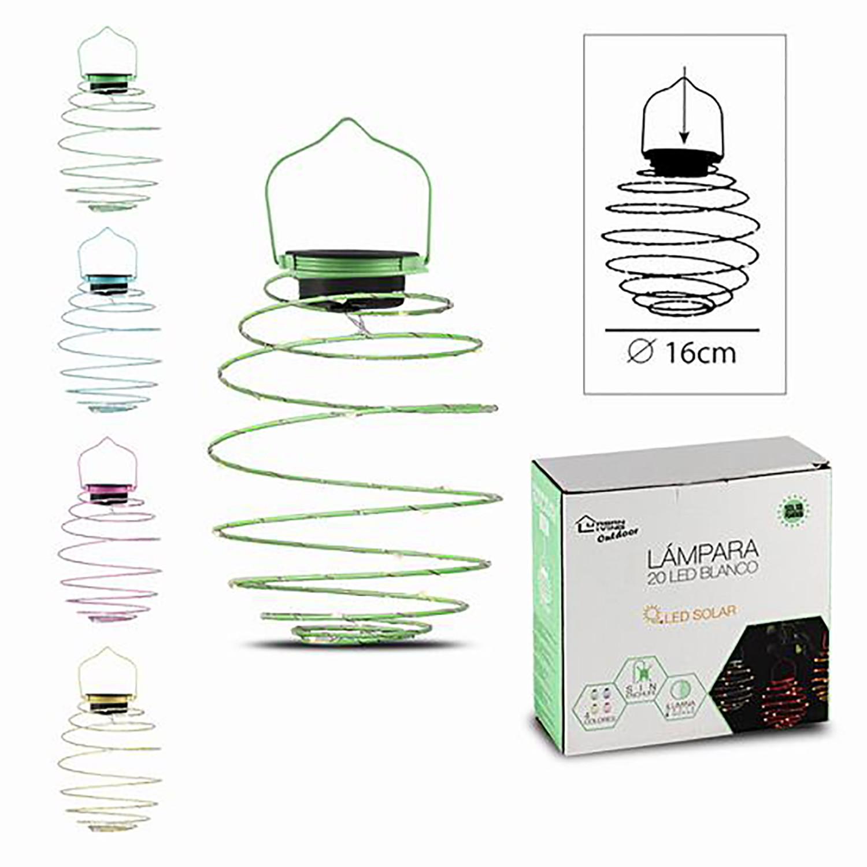 Lámpara Solar para Exterior, Decoración de Jardín, Lámpara Solar LED en Espiral Colgante, Lámpara de 16cm