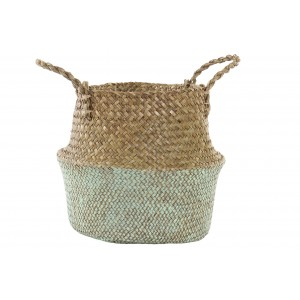 Wicker basket for Decoration and Storage, Boho, Color Mint Green 28x28x30 cm