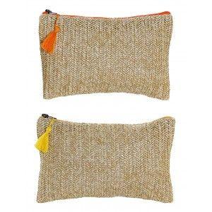 Neceser Trenzado Cierre de Cremallera y Pompon, Diseño Balinés realizado en Poliéster 25x16 cm