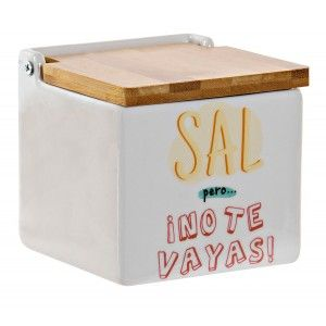 Salt shaker Kitchen made in Ceramica Dolomite with Lid Bamboo 11x11x11 cm