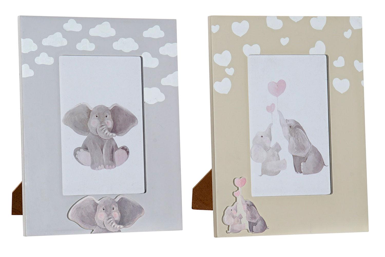 Marco de Fotos Infantil, de Madera, Diseño Elefantes 17x1,5x22 cm