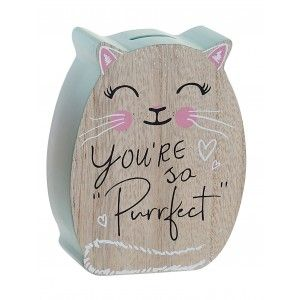 Piggy bank Wooden, with frame for Picture, color Blue or Pastel Pink. Design of Unicorns, Stylish Fantasy/Baby - Home and More