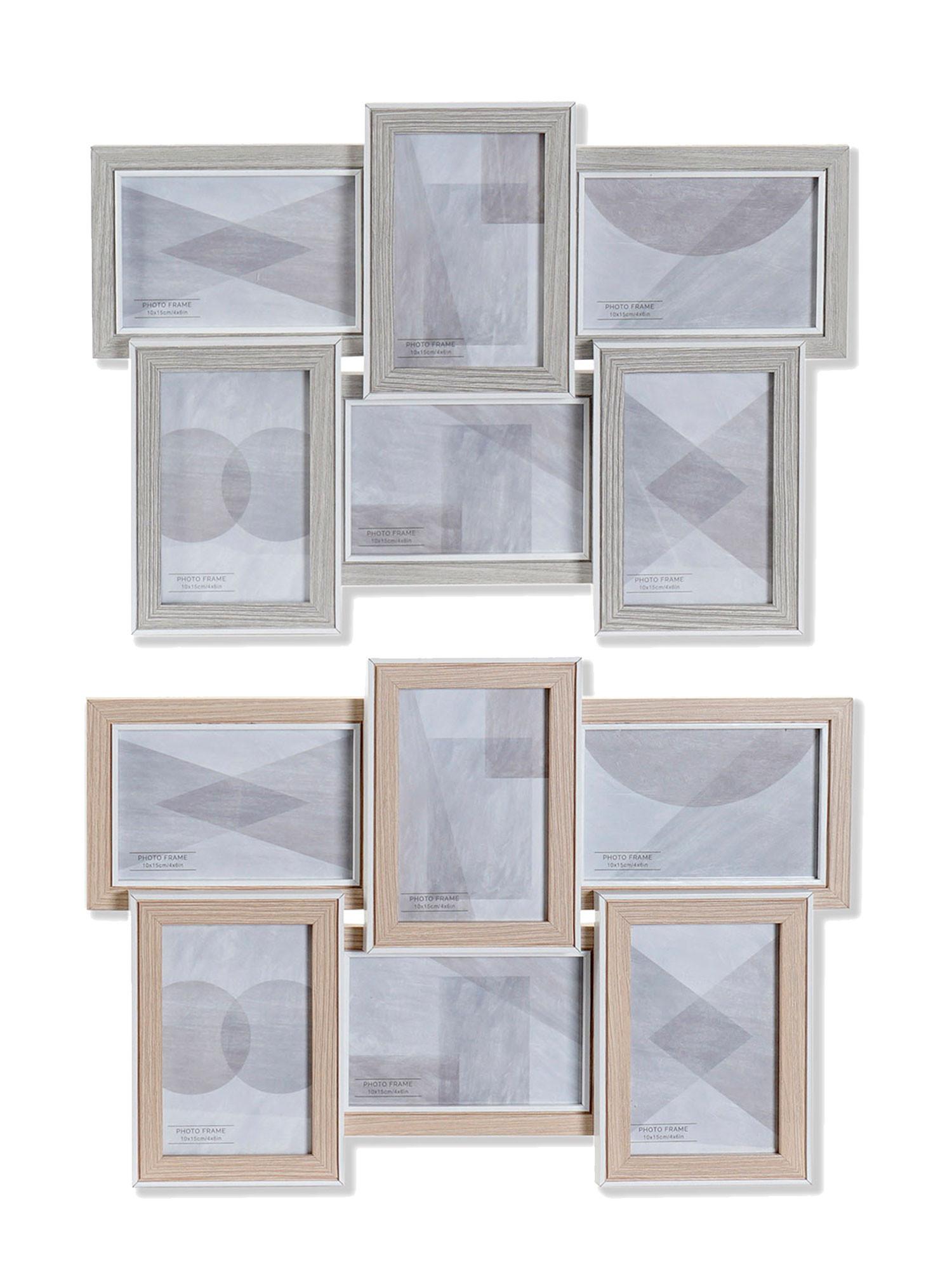 Marco Multifotos para Pared, de Madera, Portafotos paraTamaños Variados 46x3x32 cm