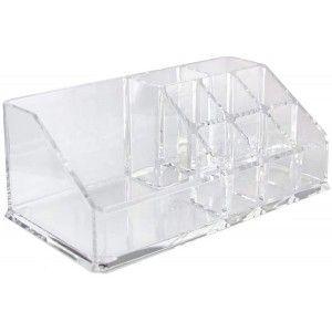 Organizador de Maquillaje Transparente, Organizador de Cosméticos Acrílico, Organizador con 9 Espacios Moderno, 17x9,5x7cm