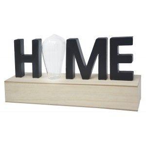 """Decoración de Madera """"Home"""", Lámpara Led. Estilo Moderno, Decoración del hogar Original/Moderna 34X15,5X8cm"""