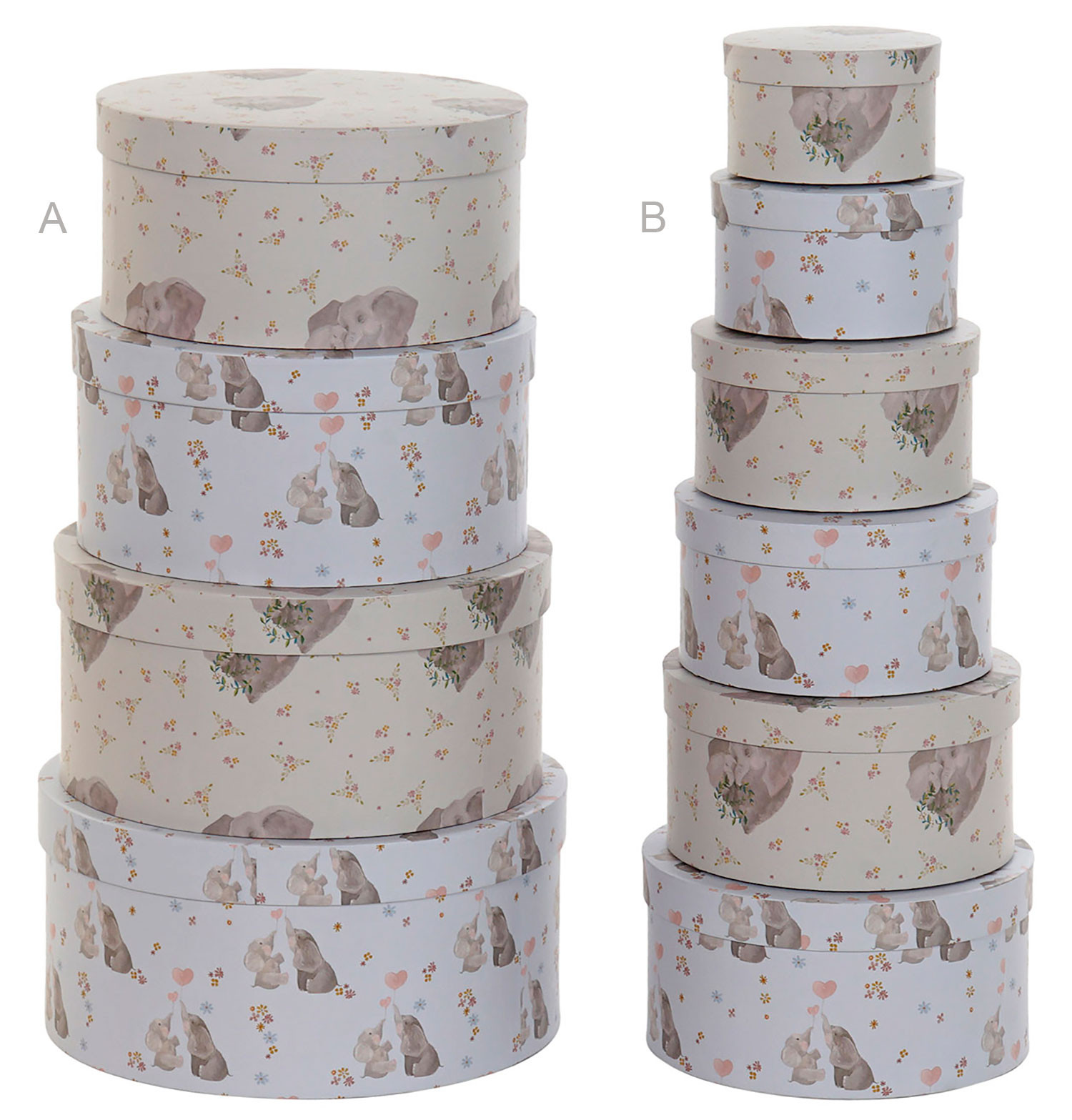 Cardboard boxes, Round, Design, Elephant, Set of Cardboard Boxes 37,5x37x5x18 cm