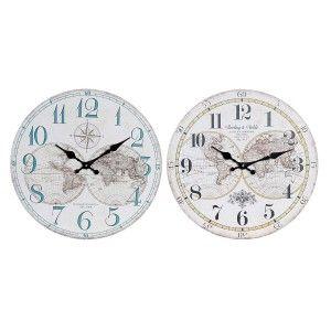 Clock Wall Analog Clock Vintage Wood, Design world Map 33,8X33,8x3,8 cm