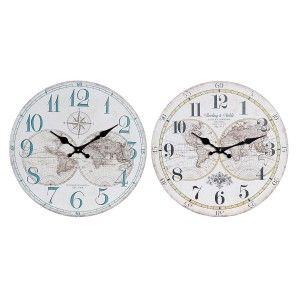 Reloj Pared Analógico, Reloj Vintage de Madera, Diseño Mapamundi 33,8X33,8x3,8 cm