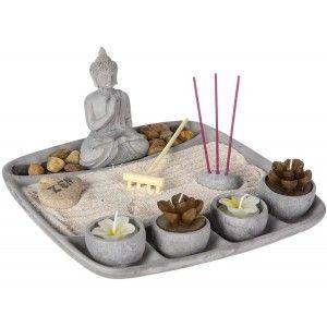 Jardín Zen Con Buda, Jardín Zen Pequeño, Decoración Zen, Jardín Zen Cemento 4 Velas, 23x23x12cm