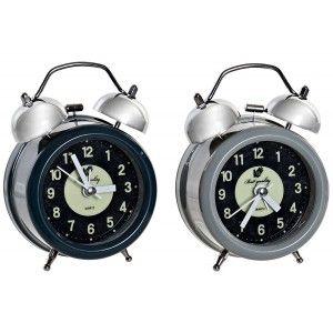Alarm clock Analog Desktop, made of Metal. Design Vintage/Original. 2 Models to choose from 9X5,5X12 cm