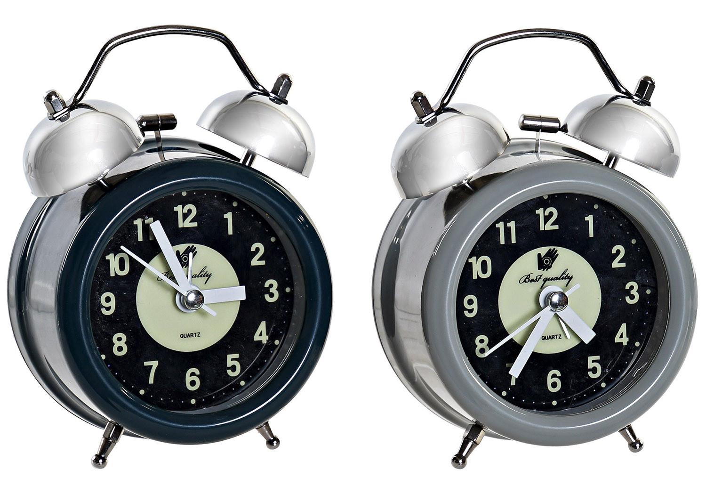 Reloj Despertador Analógico de Sobremesa, realizado en Metal. Diseño Vintage/Original. 2 Modelos a elegir 9X5,5X12 cm