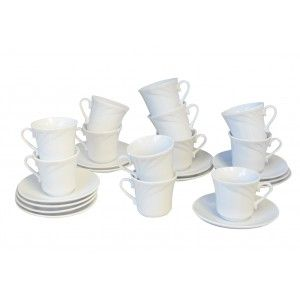 Coffee set Ceramic 12-Piece Cutlery and crockery, White 60 ml Cups and Dishes 6x6x11 cm