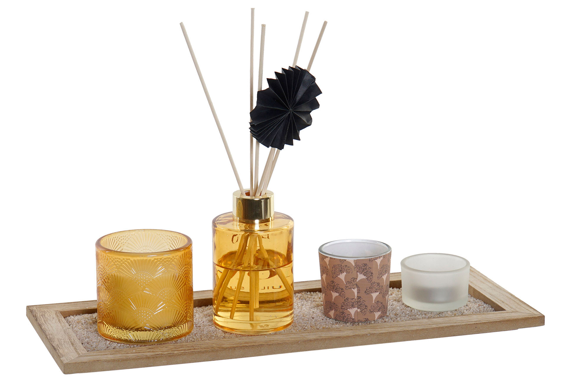 Aroma diffuser Rods 80ml + 3 Candles, Aromatic Wax + Wooden Supports 37,5X9X15cm