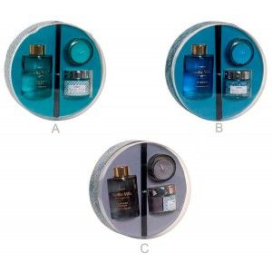 Difusor de Aroma de Varillas 80ml y 2 Velas Set 3 6X6X9cm