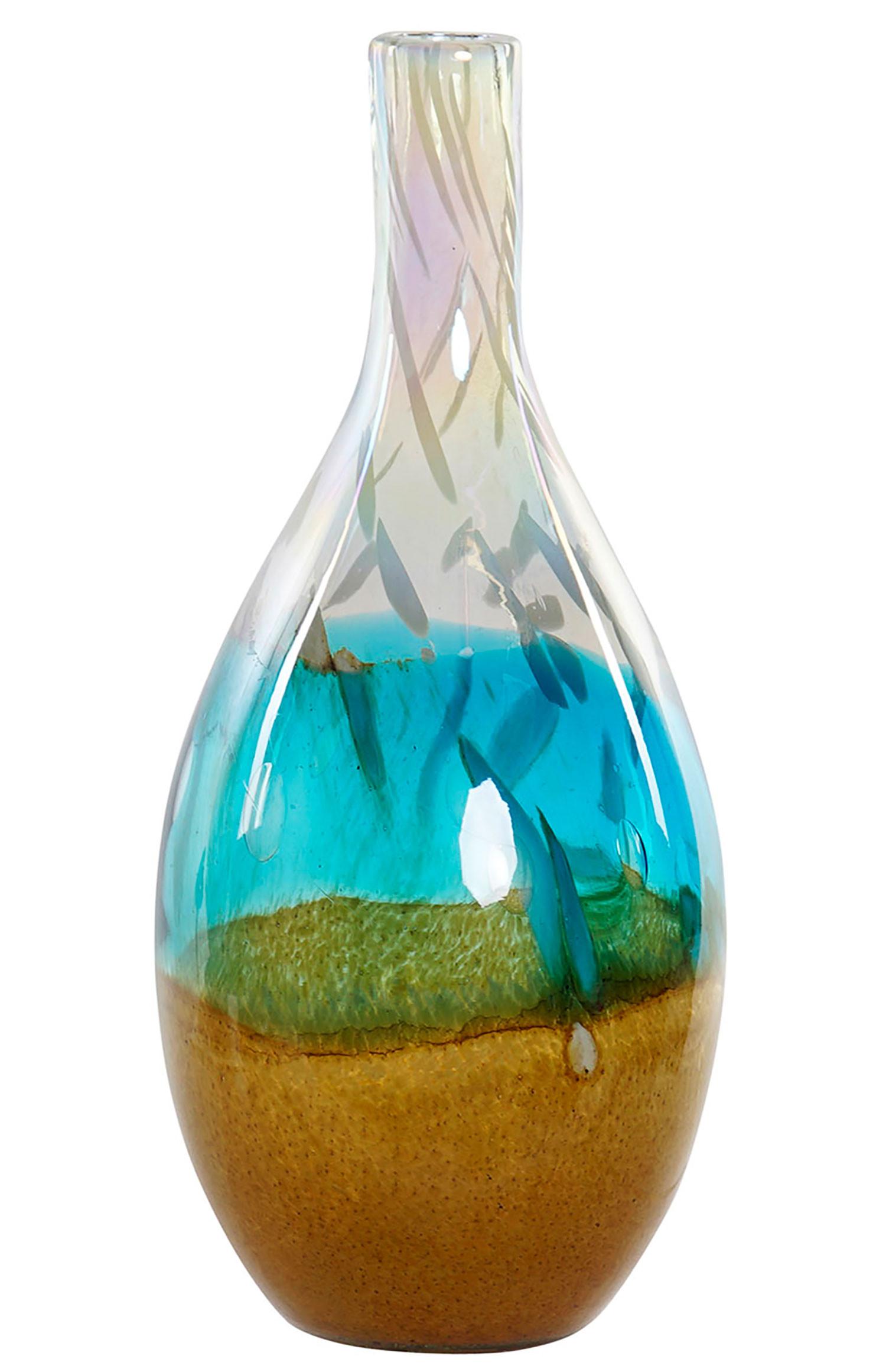 Jarrón Cristal Decorativo de Cristal, Decoración Vinatage 15X36cm Azul