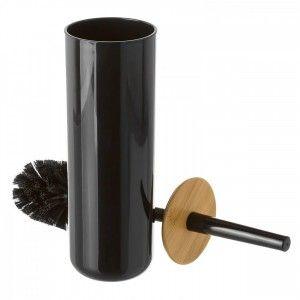Escobillero de Poliestireno Negro con tapa de Bambu Natural, con Diseño Limpio y Minimalista.