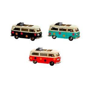 Samba Bus, Figure Vehicle Decorative Metal,3 Models 16,7X7X8,3cm