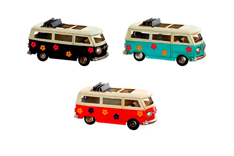 Samba Bus, Figura Vehiculo Decorativo Metal,3 Modelos 16,7X7X8,3cm