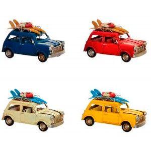 Figure Decorative Metal, Car Surfer Vintage, 4 Models 25,5X13X3