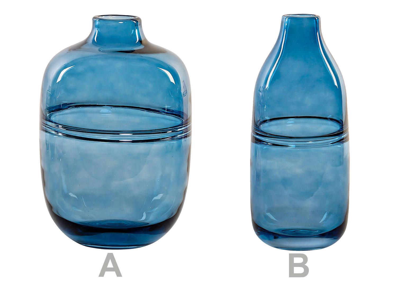 Jarron decorativo de Cristal en color Azul para Salon/Comedor. 2 Tamaño diferentes.