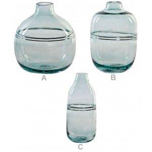 Jarrón Decorativo Cristal de color Verde para Entrada/Salón.3 Tipos y Tamaños diferentes