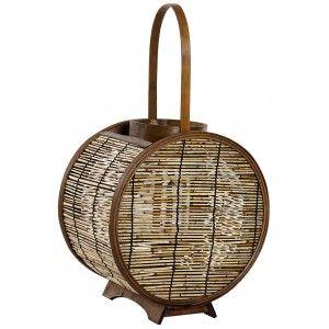 Farol Portavelas Decorativo de Bambú y Cristal, color Natural. 2 Tamaños diferentes.