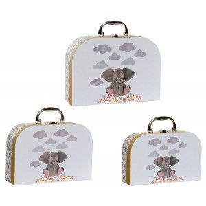 Cardboard box and Metal Handle,Design elephant Set of 3 28X22X9,5cm