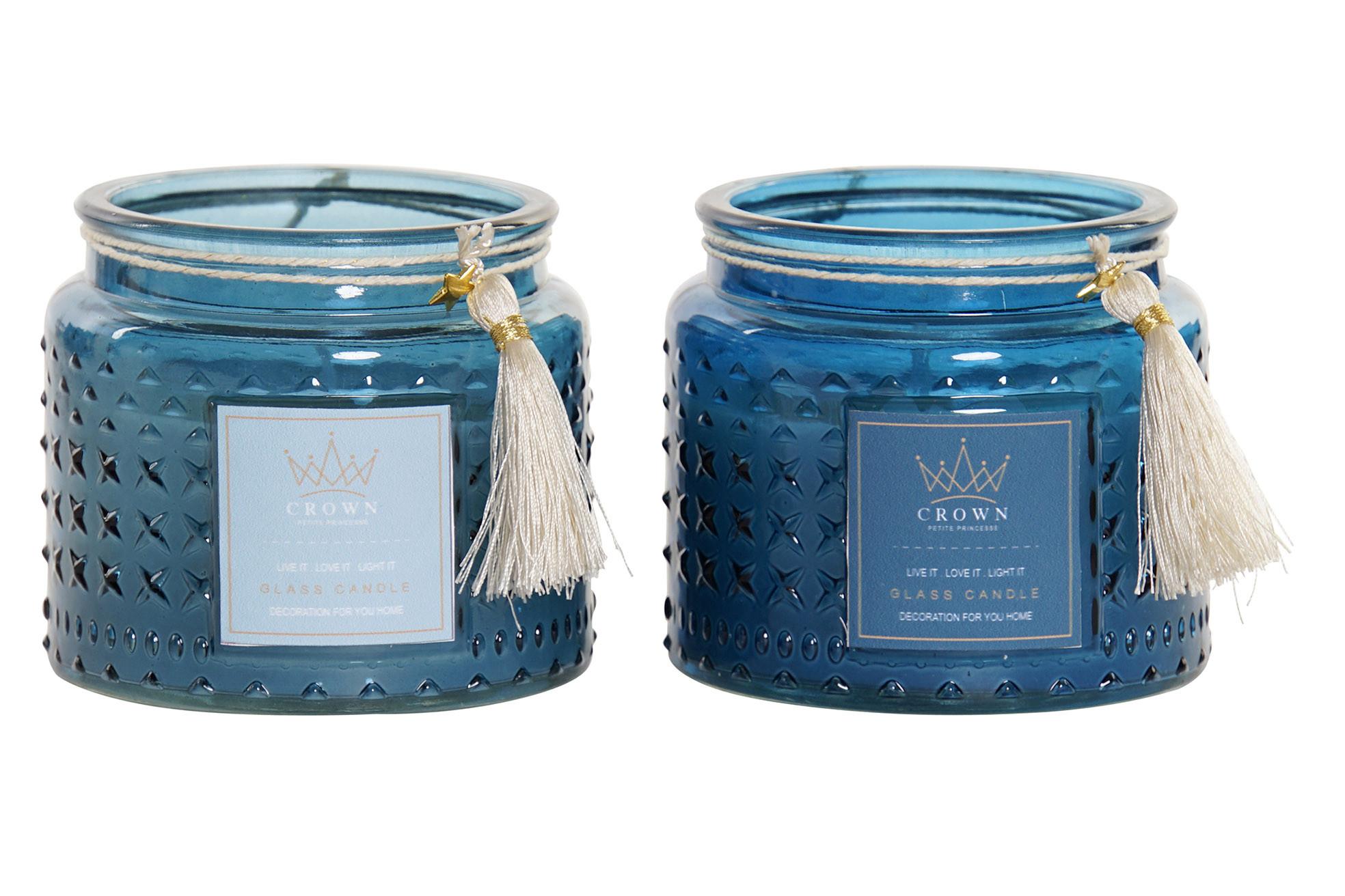 Velas Perfumadas de Cera con Soporte de Cristal y flecos. 2Modelos, Diseño moderno 10X10x8,5cm